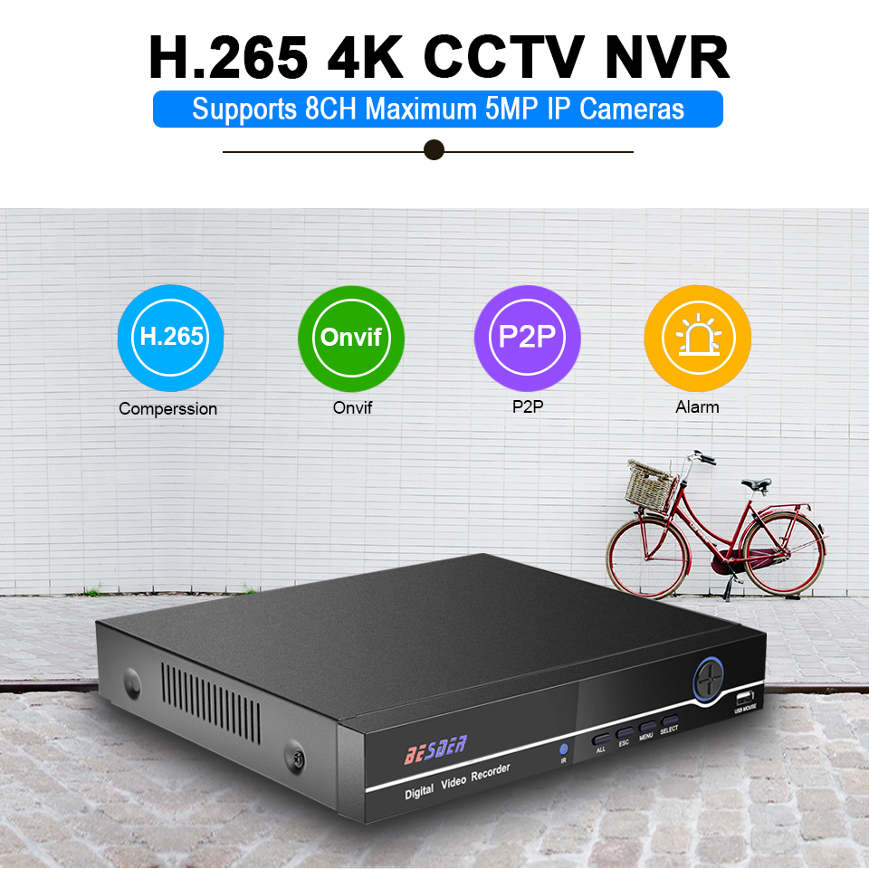 BESDER H.265 8CH 4MP /4CH 5MP CCTV NVR Motion Detect Email Alert RTSP Surveillance Network Video Recorder For H.265/H.264 Camera-in Surveillance Video Recorder from Security & Protection    2