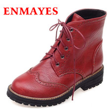 ENMAYES Big Size 34-43 4-color High Quality PU Winter Square Heel Boots Women Ankle Boots for Women Round Toe Fashion Boots