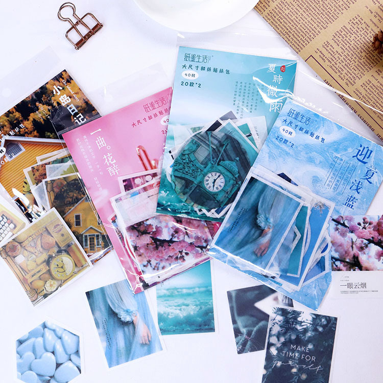 40 Pcs/pack Summer Light Rain Bullet Journal Decorative Adhesive Stickers DIY Decoration Diary Stationery Stickers Children Gift