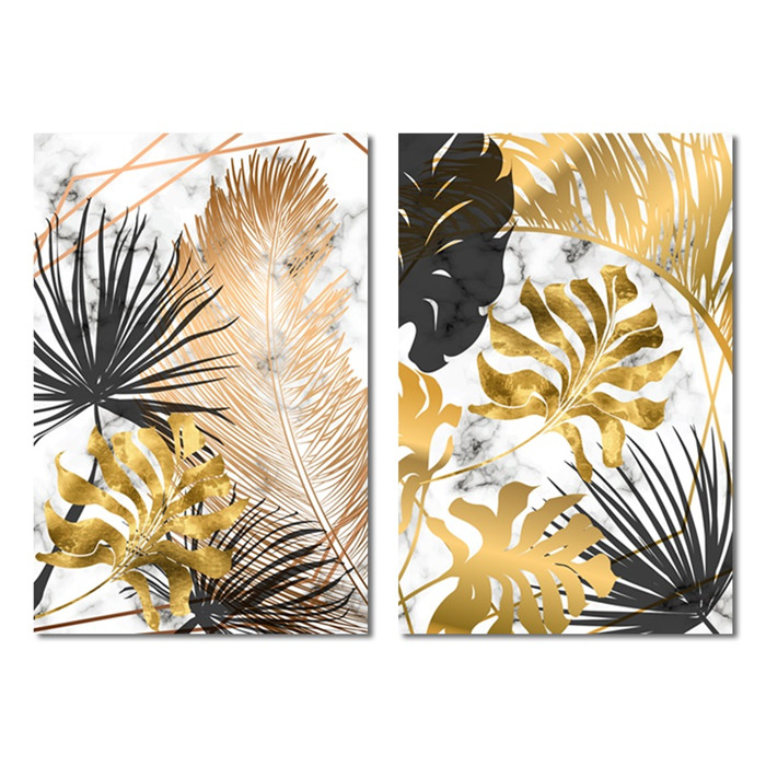 HTB1MvkhXpY7gK0jSZKzq6yikpXaA Scandinavian Style Poster Marble Golden Leaf Art Plant Abstract Painting Living Room Decoration Pictures Nordic Decoration