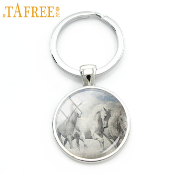 TAFREE Brand Pentium Horse keychain strength and beauty the symmetry of the tall shiny hair color key chain fashion jewelry A45 image