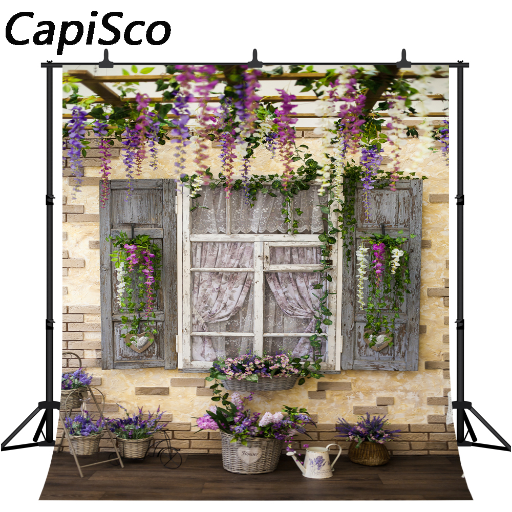 x2.5 H Laeacco 8x8FT Vinyl Thin Backdrop Photography Background Flowers Bloom Pink Romantic White House Window Wedding Background 2.5 W m Photo Studio Props