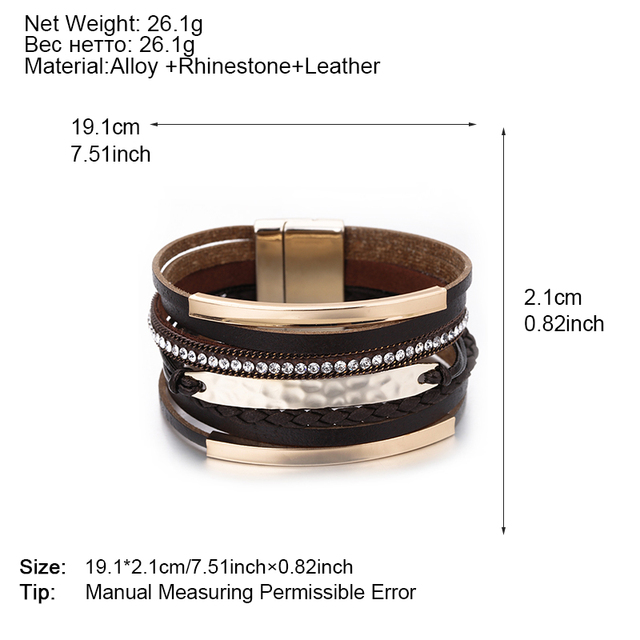 Metal Bar Charm Leather Bracelets For Women Trendy Boho Braided Rope Wide Multilayer Wrap Bracelet Female Jewelry