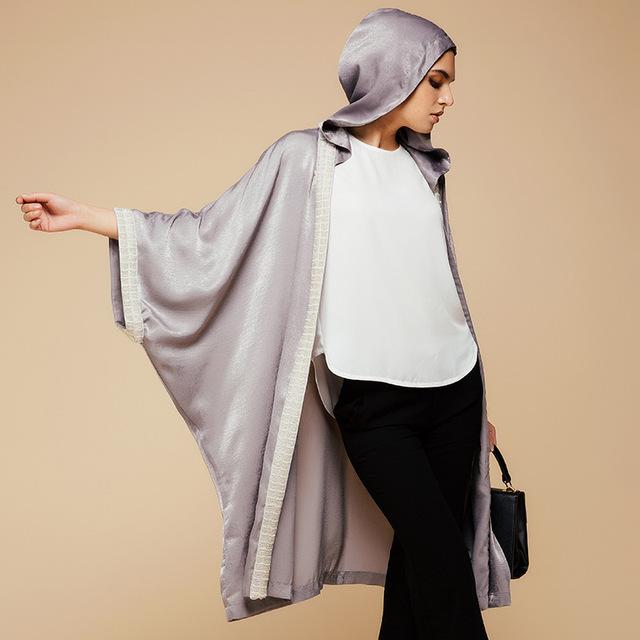 2016 de Seda Nueva Outwear Ropa Cardigan Con Sombrero de Turquía y Oriente medio Árabe Islámico Musulmán de Las Mujeres de Moda de Gran Tamaño Tops