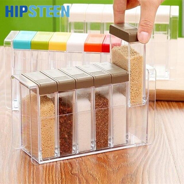 HIPSTEEN 6pcs/set Spice Jar Seasoning Box Kitchen Spice Storage Bottle Jars Transparent PP Salt MSG Pepper Cumin powder Box Tool