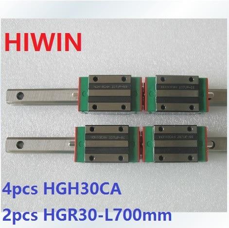 купить 2pcs 100% original Hiwin linear rail linear guide HGR30 -L 700mm + 4pcs HGH30CA linear narrow block for cnc router по цене 17883.34 рублей