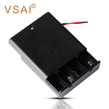VSAI 2pcs AA Size 4 Slots Power Battery Storage Case Box Holder Leads With Switch hl 2017 diy 12v 8 x aa battery holder case box with leads switch may8