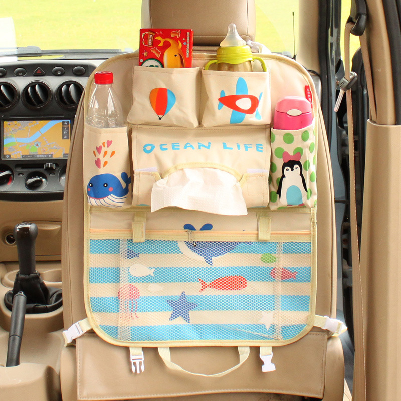 Cartoon Car Seat Back Storage Bag Organizador Waterproof Oxford Cloth Hanging Pocket For Baby Children Travel Bag Organizer Bags