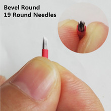 50pcs Eyebrow Tattoo Permanent Makeup 19 Bevel Round Needles Microblading 3D Eyebrow Embroidery 19 Fog Round Needle Red