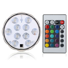 1 Piece/Lot 3AAA Battery Operated Led Spot Light Underwater Lighting with Remote Controller for Flower Glass Vase Decoration