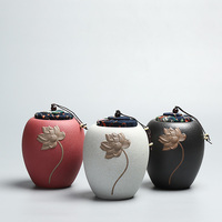 PINNY Embossed Ceramic Sealed Tea Jar Vintage 800ml Tea Storage Storage Containers Kung Fu Teaset Accessories Tea Canister