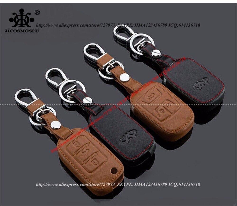√JICOSMOSLU: HIGH QUALITY 100% COWHIDE CAR KEY CASE RING FOR