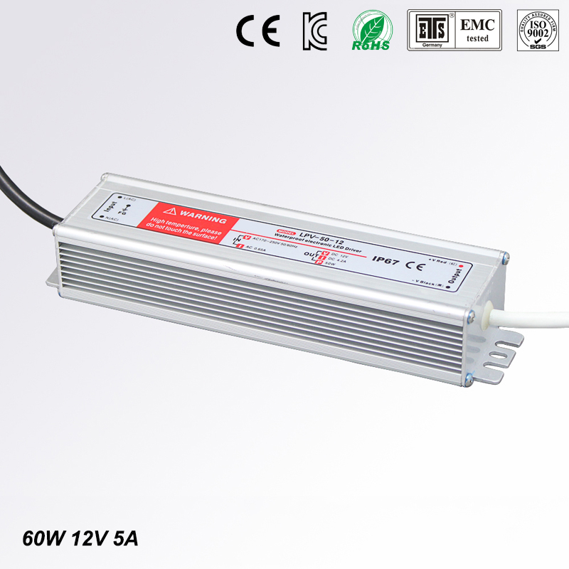 DC 12V 60W 5A Waterproof IP67 Electronic LED Driver outdoor use power supply led strip transformers adapter,Free shipping