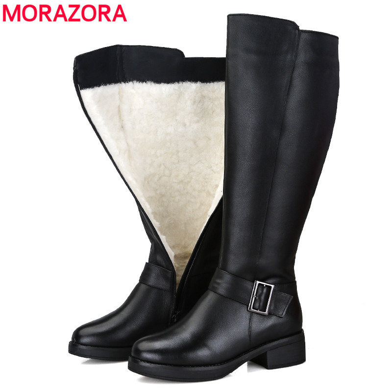 MORAZORA 2019 New genuine leather snow boots women fashion high quality thick fur wool winter boots ladies knee high booties-in Knee-High Boots from Shoes