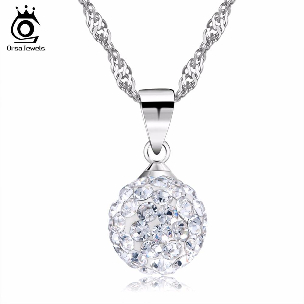 ORSA JEWELS Sliver Necklace Shamballa Bead Pendant Full