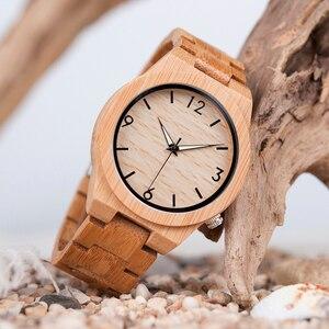 Image 2 - ボボ鳥メンズ腕時計木製竹クォーツ男性腕時計発光手とフル竹バンドギフトボックス時計