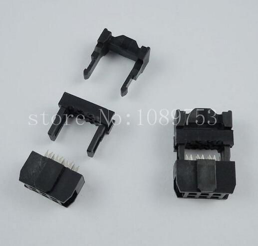 100pcs FC-6P  Black IDC Socket 2.54mm JTAG Socket ISP Connector 200 pcs fc 14p 14 pins male idc socket plug ribbon cable connector black free shipping