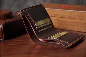 Image 5 - Handmade Vintage Crazy horse Genuine Leather Wallet Men Wallet Leather engrave Short Wallet Men Purse Male Money Clips Money bag