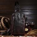 Marca de luxo De Designer Sacos Do Mensageiro Pacote Peito Masculino bolsa de Negócios Dos Homens Crocodilo Padrão Do Vintage Genuíno Couro de Vaca bolsa de Ombro Bolsos