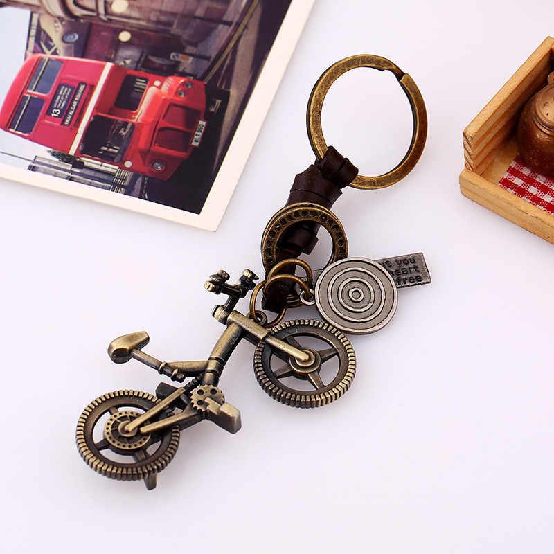 Zorcvens moda criativa masculino e feminino pequenos presentes chaveiro retro liga simples bicicleta chaveiro de couro acessórios