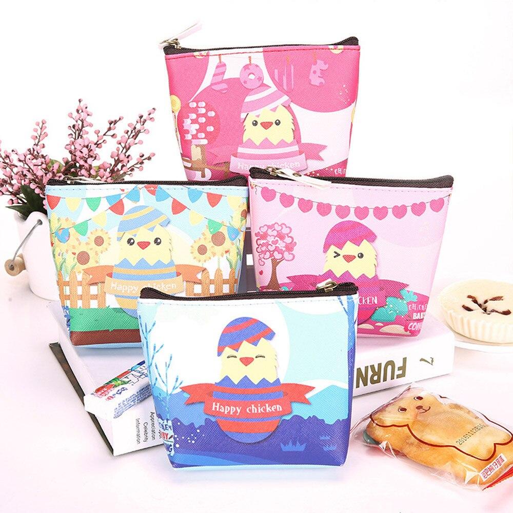 Women Girls Cute Cartoon Chicken Pattern Coin Purse Wallet Zipper Ladies Change Pouch Key Holder Bag Hot Sale Fashion 2018