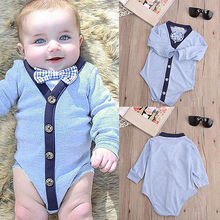 2016 New Newborn Kids Baby Boy Girl Warm Infant Gentlemen Bownot Long Sleeve Jumpsuit Bodysuit Clothes Outfit