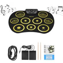 Portable Electronic 9 Pads Roll Up Silicone Drum with Drumsticks and Sustain Pedal Students Children Practice Drum