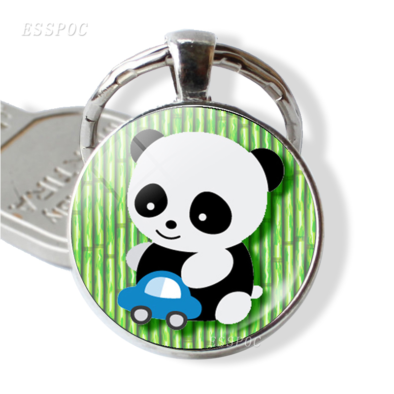 Cute Panda Silver Plated Key Chains Round Glass Dome Pendant Keychain Key Rings Keyring Gift XG cute key style alloy quartz watch with neck chains 1 377