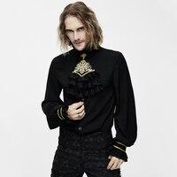 Готический Ретро готический дворец рубашка черная рубашка с длинными рукавами свободные воротник галстук с вышитыми цветами