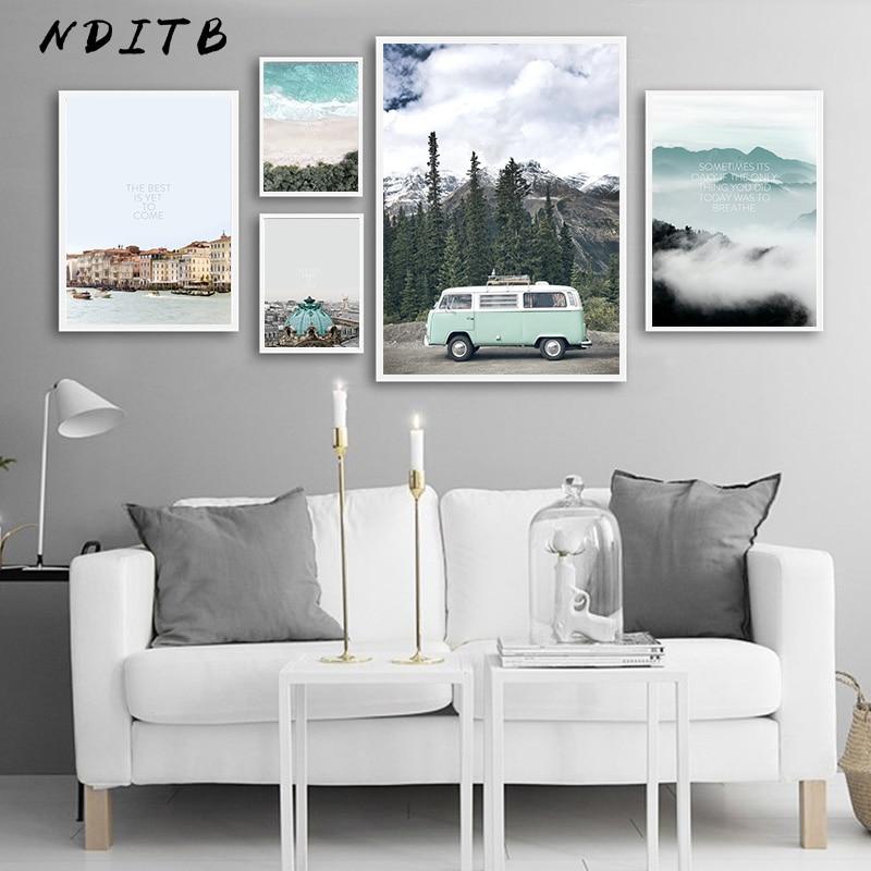 Styles Of Decor: Scandinavian Style Travel Landscape Canvas Wall Art Poster