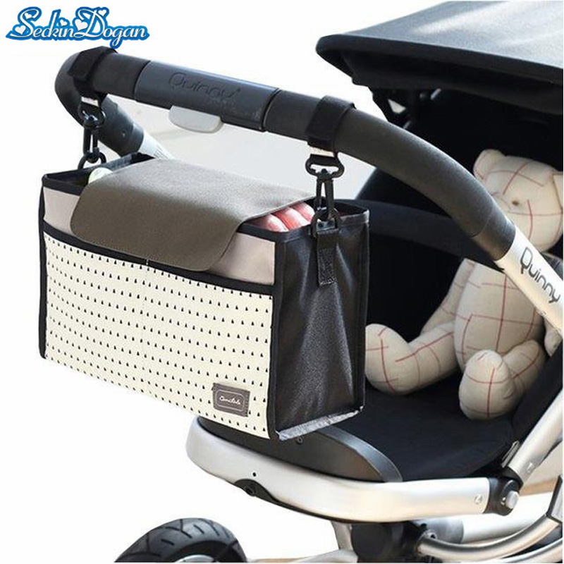 Baby Stroller Bag Large Capacity Diaper Bag Stroller Accessories Double Layer Casual Baby Travel Nappy organizer