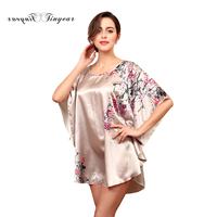 Tinyear 2017 New Women Sleepshirt Faux Silk Bath Robe Sleep Lounge Ladies Nightwear Plus Size Sleepwear Nightie Sleep Top 3001YT