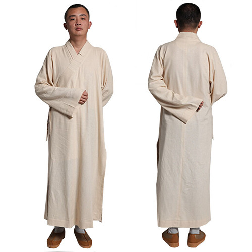 Buddhist Shaolin Unisex Monk Robe Cotton & Linen Long Robes Gown Kung Fu Uniforms Martial Arts Clothings new pure linen retro men s wing chun kung fu long robe long trench ip man robes windbreaker traditional chinese dust coat