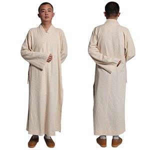 Buddyjski Shaolin Unisex mnich szata bawełna i len długie szaty suknia Kung Fu mundury sztuki walki ubrania