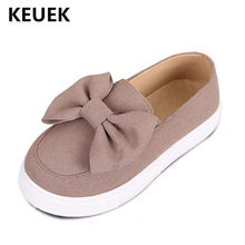 New Children Loafers Microfiber Sports Leather Shoes Girls Student Bow Breathable Flats Princess Kids Single Shoes Baby 04(China)