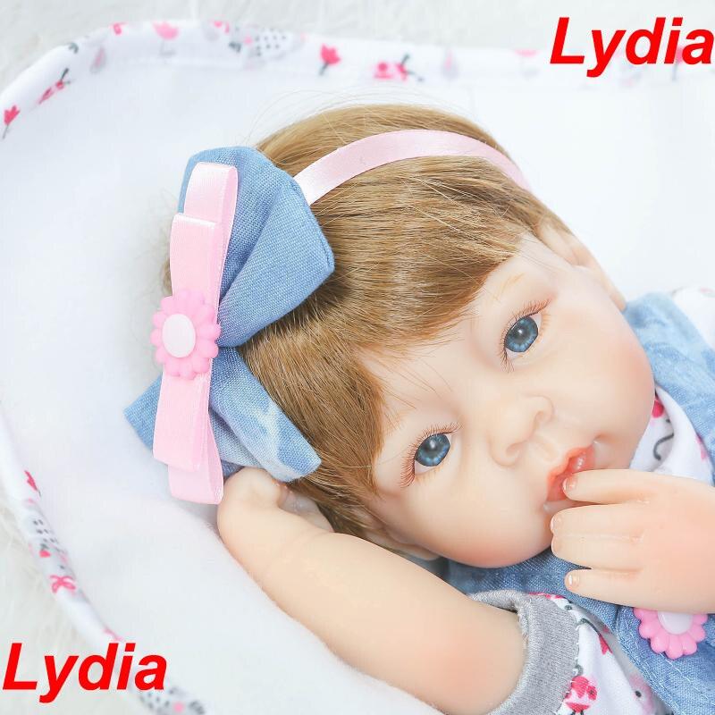 ФОТО Cute Lydia girl doll reborn 40cm soft cloth body silicone newborn dolls best children gift dolls realista bebe bonecas