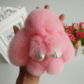 13cm Cute Mini Genuine Rabbit Fur Pom Pom Key Chain Women Trinket Rabbit Toy Doll Bag Car Key Ring Monster Keychain Jewelry Gift