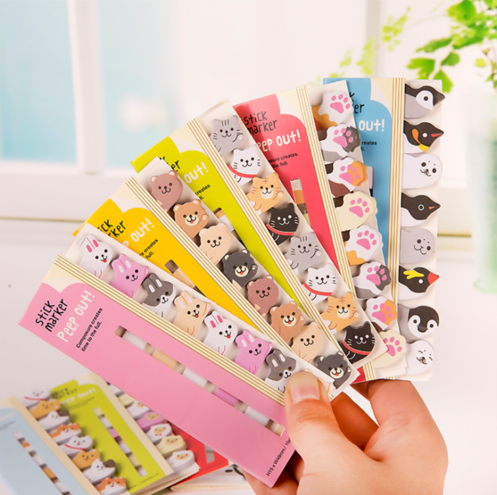 Lovely Kawaii Cartoon Animals Cute Japanese And Korean Stationery Row Animal Bookmarks Note Paper Office Student Supplies