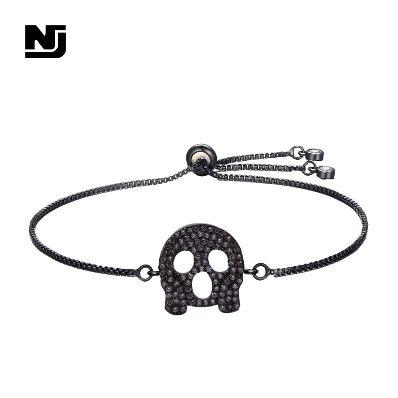 NJ Cool Skeleton Pattern Charm Bracelets & Bangle for Women Black Silver Gold Copper Adjustable Chain Bracelet Jewelry