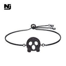 NJ Cool Skeleton Pattern Charm Bracelets & Bangle for Women Black Silver Gold Copper Adjustable Chain Bracelet Jewelry