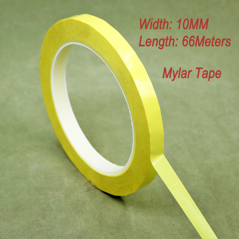 2rolls/Lot 10MM Width 66 Meter Length PET Film Yellow Mylar Tape Adhesive Insulation Anti-Flame For Transformer Capacitor Motors 2x 13mm width adhesive insulation mylar tape for transformer motor capacitor coil wrap anti flame black