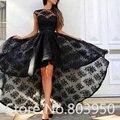 Vestido de Fiesta de Encaje negro 2017 Nueva Moda Largo Delantero Corto volver Vestidos De Formatura Sheer Sexy Fiesta Vestido de Fiesta Barato vestidos