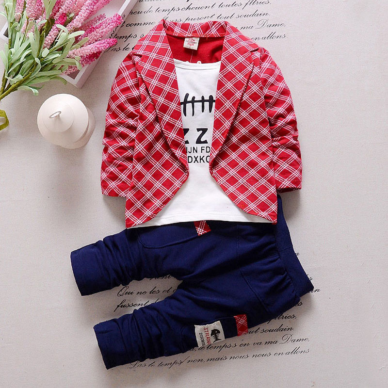 Newborn Baby Boy Sets Infant Spring Boys Suit Clothes Plaid Open Stitch+T-shirt+Pant Sets for Kids Boy Baby Clothing Cloth 2017