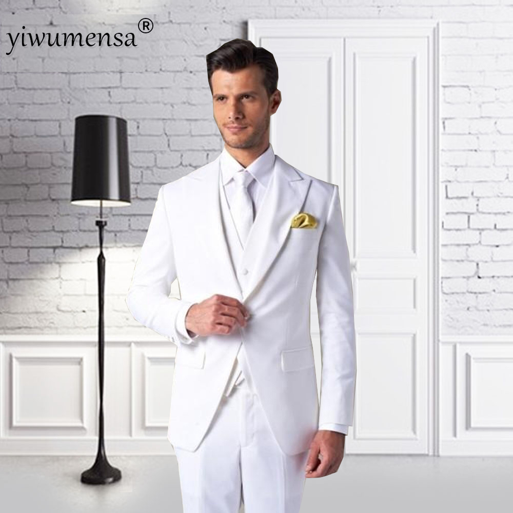 yiwumensa costume homme button white wedding suit dress. Black Bedroom Furniture Sets. Home Design Ideas