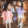 Puff Рукавом Красные Футболки + Брюки Дети Устанавливает детские Случайные Vestidos Девочка Мода Одежда Новый Летний Девушки одежда