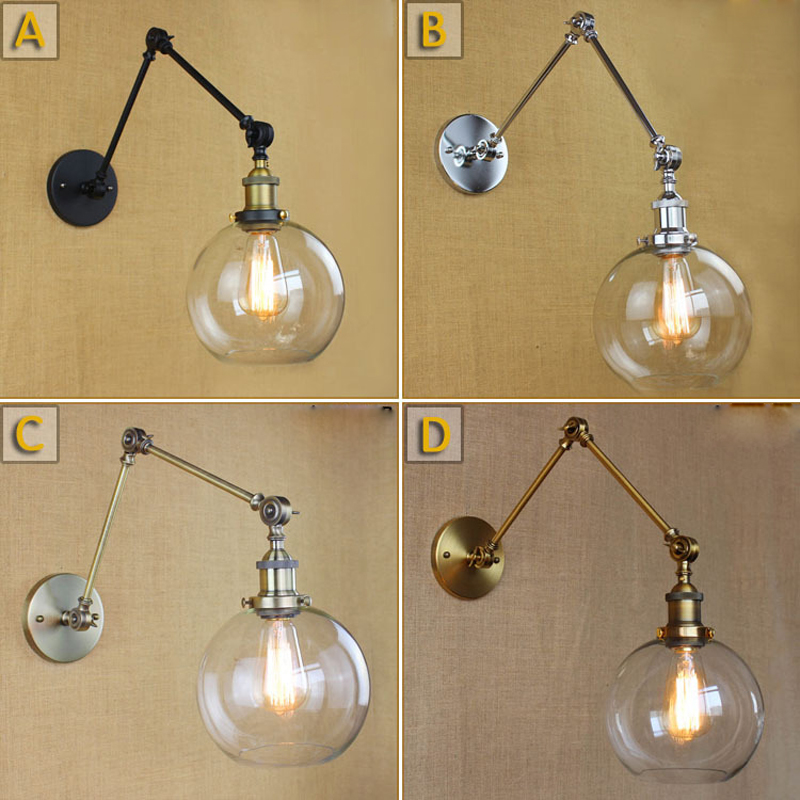 Retro Two Swing Arm Wall Lamp Glass Shade Wall Sconces,Wall Mount Swing Arm Lamps With Edison ...