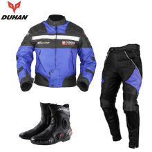 DUHAN Men's Windproof Waterproof Motorcycle Clothing Motocross Riding Jacket Pants with Boots Set with Body Protector Gear