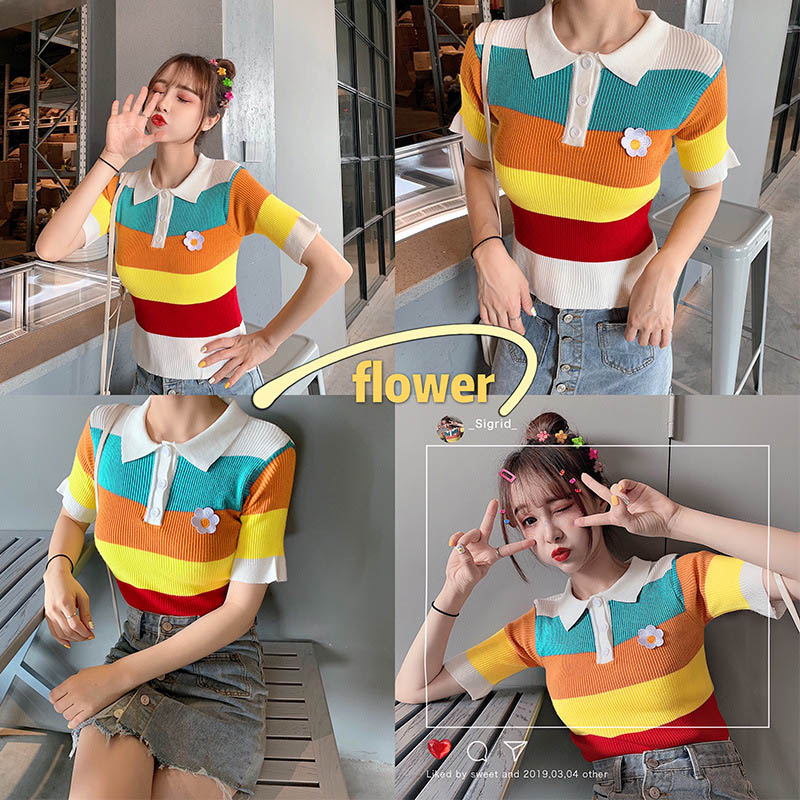 Women Tops Rainbow Striped Pattern Lapel Knitted Short Sleeve   for Summer -OPK