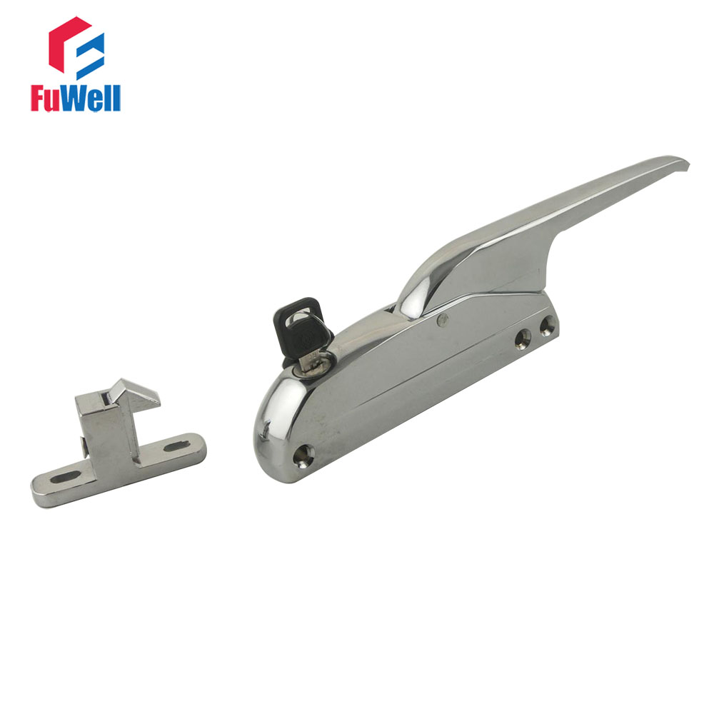 1pc Door Handle Lock Spring Latch with Keys Fit 40~50mm Thickness Door for Oven Freezer Cooler Cabinet right oven handle or industrial steam rice cooker handle with sector shape lock tongue