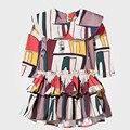 Teen Girls Dress Autumn Long Sleeve Adelaide Houses Print Girls Clothes Knee-length Sailor Collar Tiered Princess Dress Children
